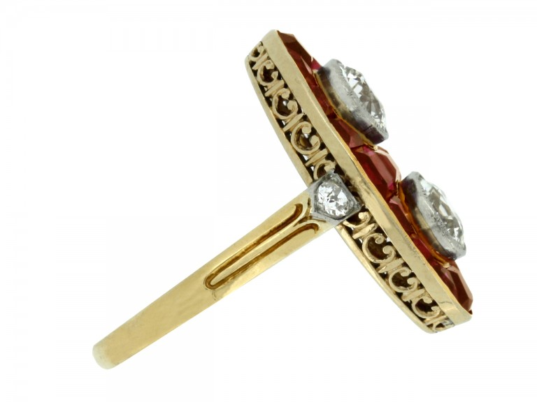side view Antique marquise ruby and diamond ring, circa 1900.