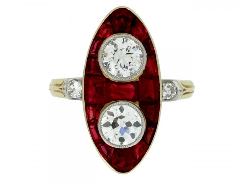 front veiw Antique marquise ruby and diamond ring, circa 1900.