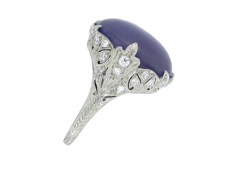 side view Mauve star sapphire and diamond cluster ring, circa 1920.