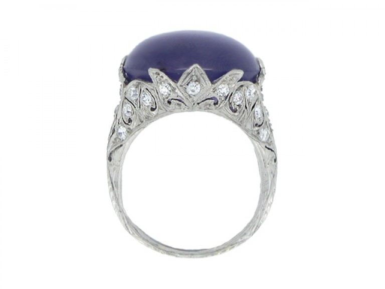 back view Mauve star sapphire and diamond cluster ring, circa 1920.
