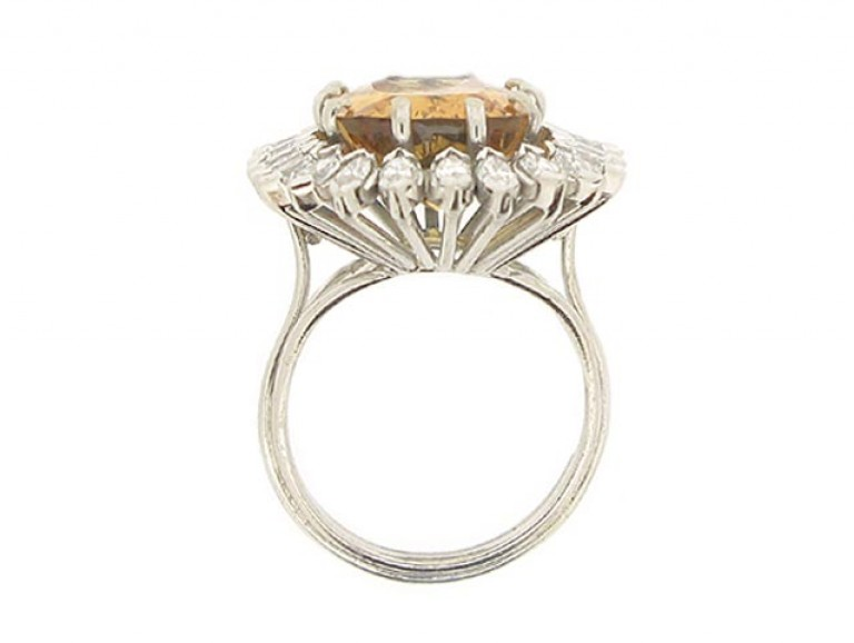 back view Vintage topaz and marquise diamond cluster ring, circa 1980.