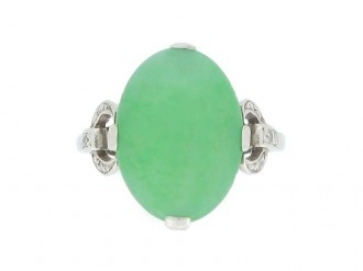 front view Jadeite and diamond ring, circa 1920.