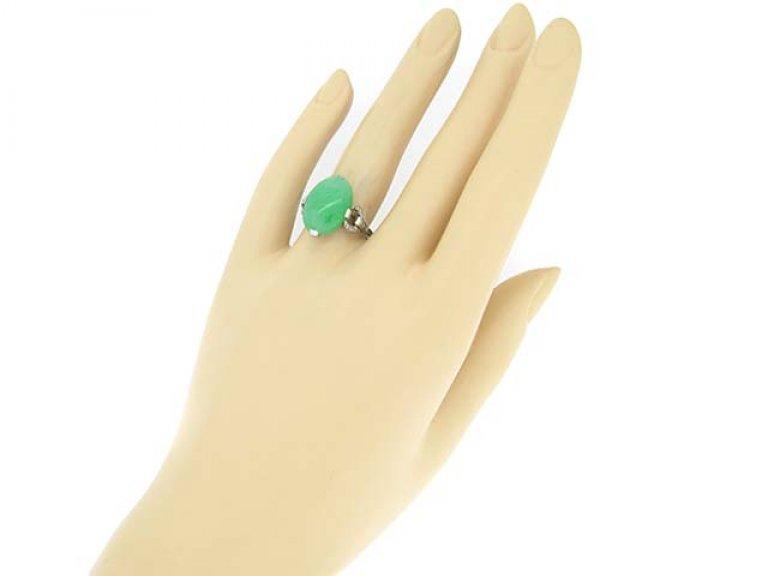 hand view Jadeite and diamond ring, circa 1920.
