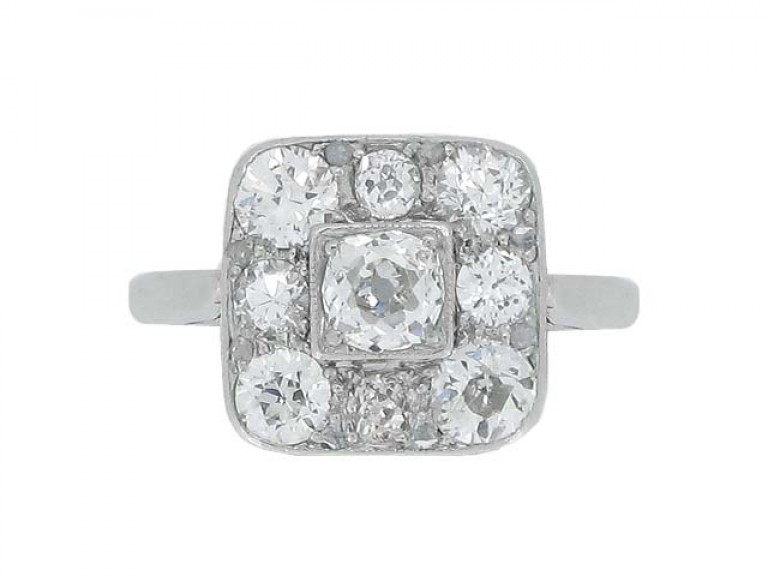 front view Art Deco diamond coronet cluster ring, circa 1925.