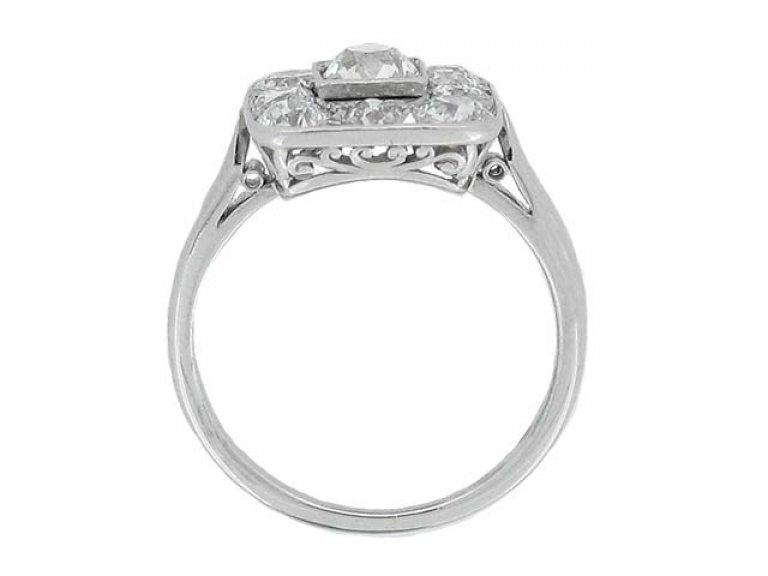 back view Art Deco diamond coronet cluster ring, circa 1925.