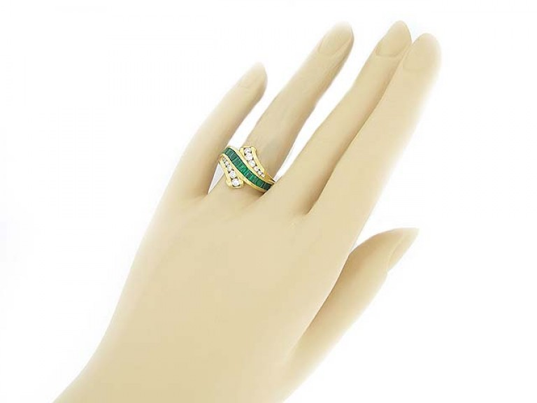 hand view Krypell emerald and diamond ring, American, circa 1970's.