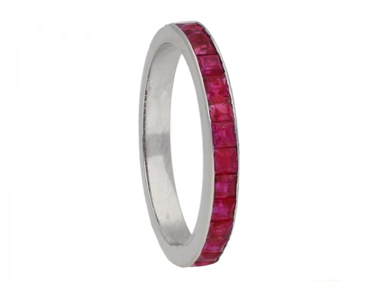 side veiw vintage ruby eternity ring berganza hatton garden