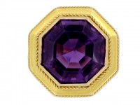 front view Solitaire amethyst ring, French, circa 1890.