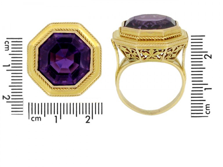 Solitaire amethyst ring, French, circa 1890.