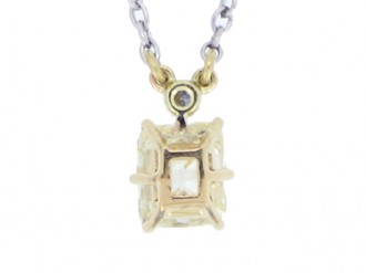 front view Old mine diamond pendant, circa 1910.