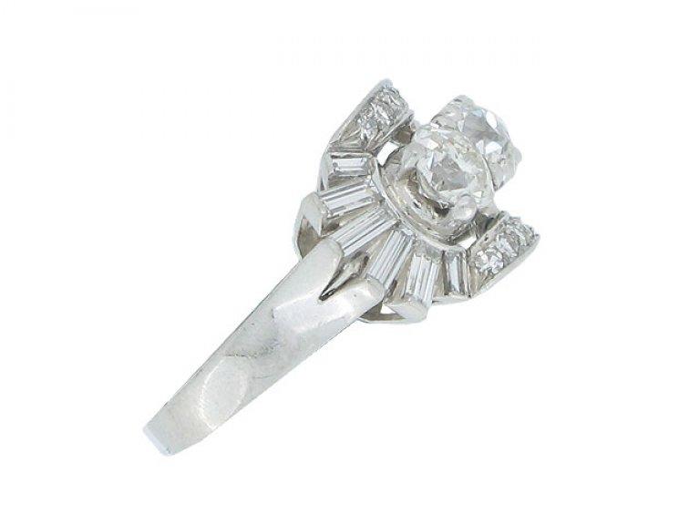 side view Diamond cocktail ring, circa 1945.