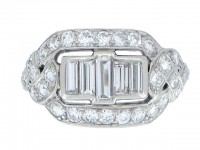 FRONT VEIW Baguette diamond cluster ring, American circa 1920.