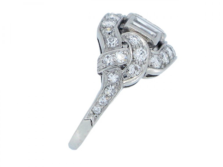 SIDE VIEW Baguette diamond cluster ring, American circa 1920.