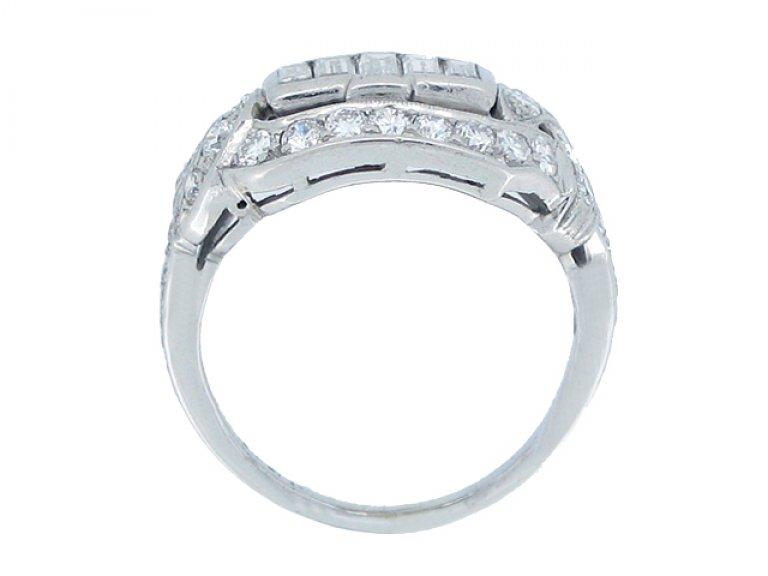 BACK VIEW Baguette diamond cluster ring, American circa 1920.