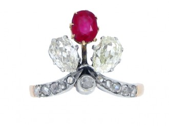 front view Art Nouveau ruby and diamond trefoil ring, circa 1905.