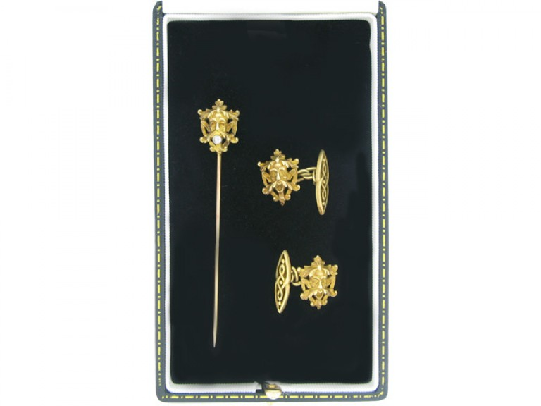 boxed view Antique cufflinks and stick pin, French, circa 1890
