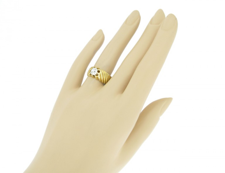 hand view Vintage solitaire old cut diamond ring, French, circa 1940.