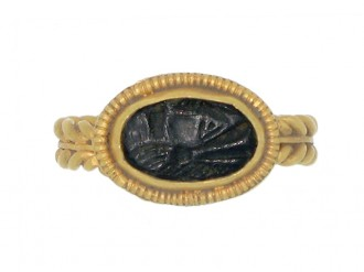 front veiw Ancient Roman intaglio ring, circa 1st 3rd century AD.