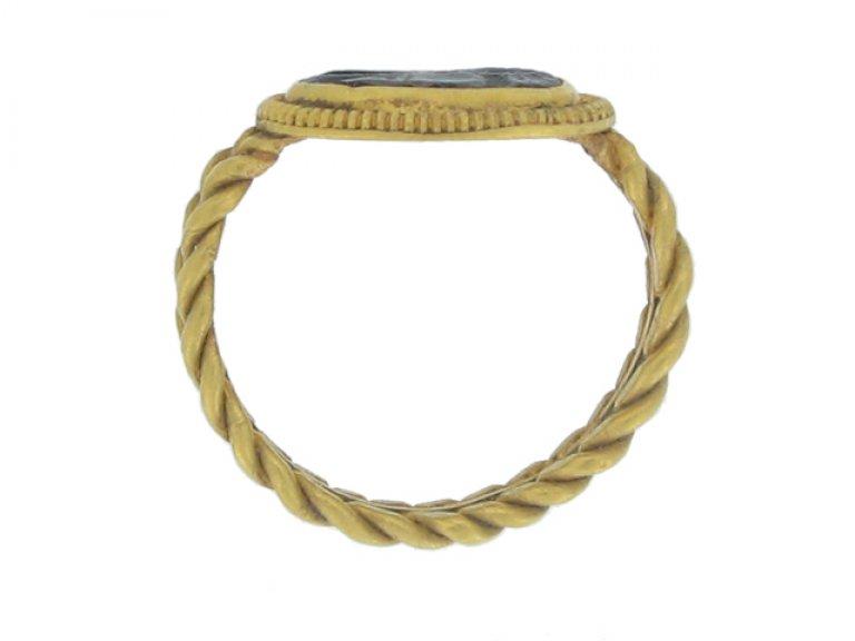 back view Ancient Roman intaglio ring, circa 1st 3rd century AD.