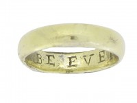 Gold posy ring, 'BE EVER CONTENT', circa 18th century.