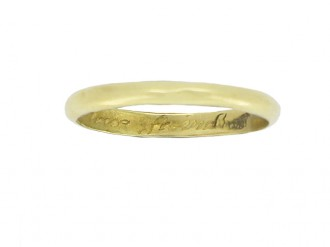 Gold posy ring, 'Moe trasure to a true freind', circa 18th century.