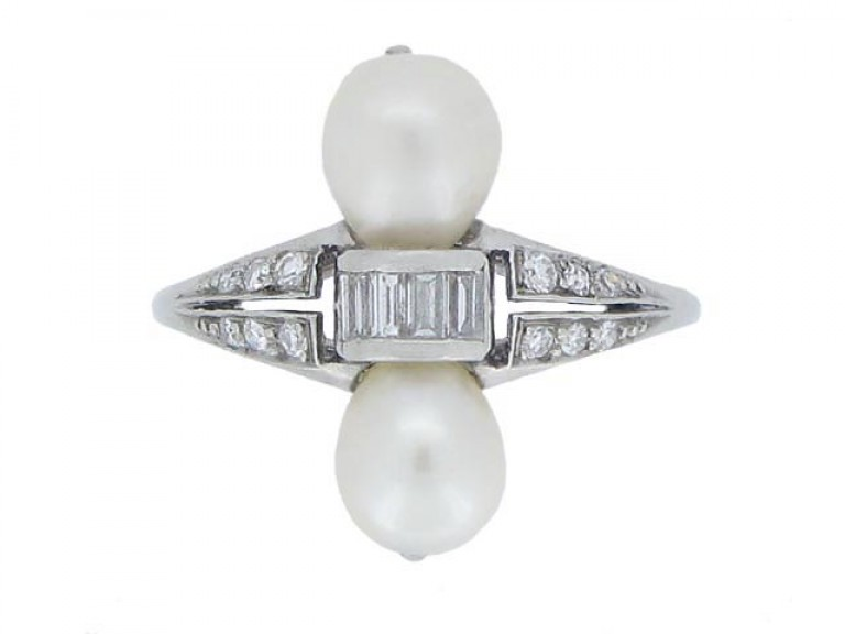 front view Two natural pearl and diamond ring, circa 1920.