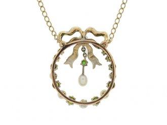 demantoid garnet, pearl enamel pendant berganza hatton garden