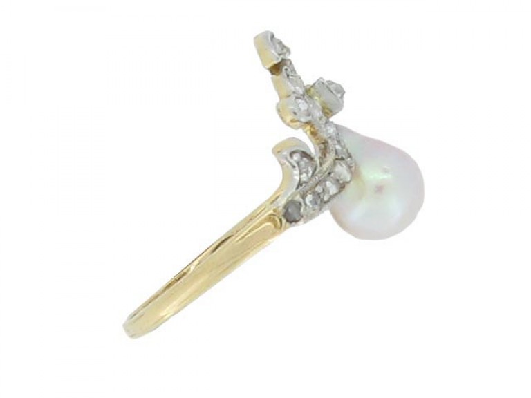 side veiw Antique natural pearl and diamond ring, French, circa 1900.