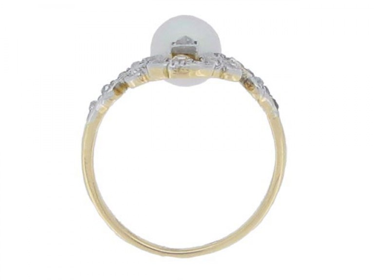 back view Antique natural pearl and diamond ring, French, circa 1900.