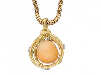 Vintage Melo pearl and diamond pendant berganza hatton garden