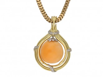 Vintage Melo pearl and diamond pendant berganza hatton garden