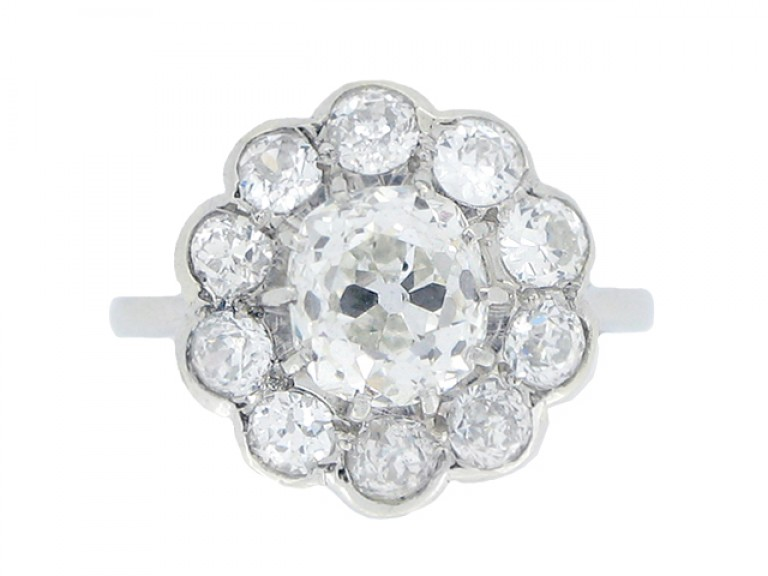 front view Edwardian diamond cluster ring, circa 1905.