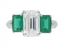front view Diamond and emerald three stone ring, circa 1935.