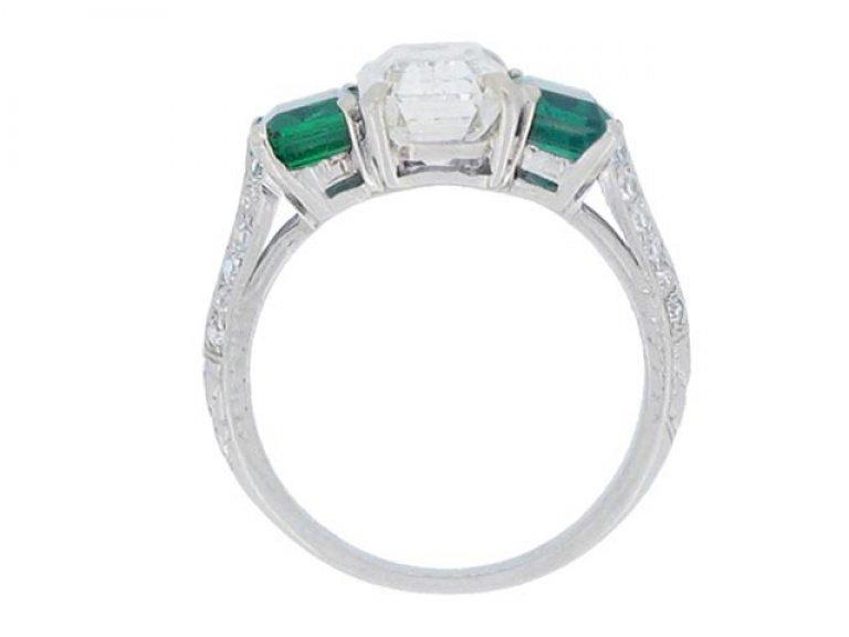 back view Diamond and emerald three stone ring, circa 1935.