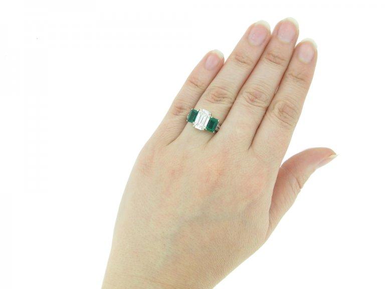 Diamond and emerald three stone ring, circa 1935.