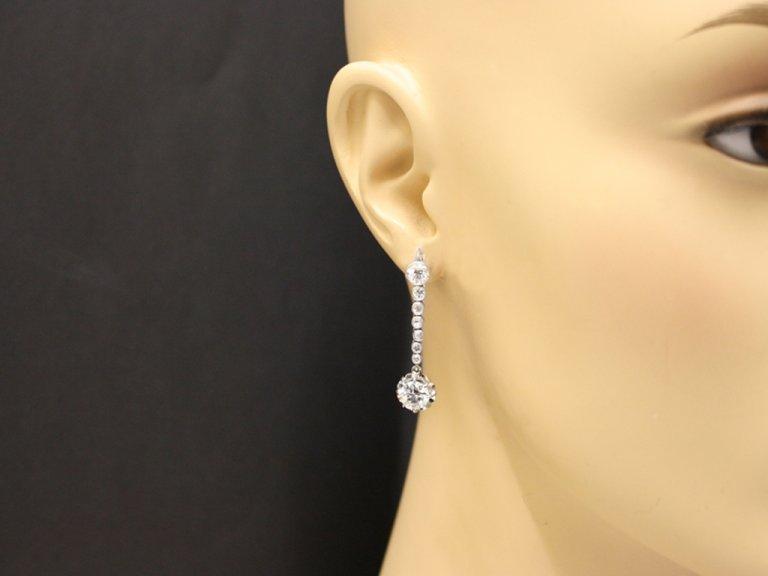 Diamond drop earrings, French, circa 1920.
