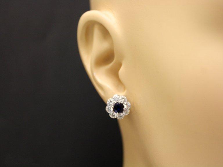 ear view antique diamond sapphire earrings berganza hatton garden