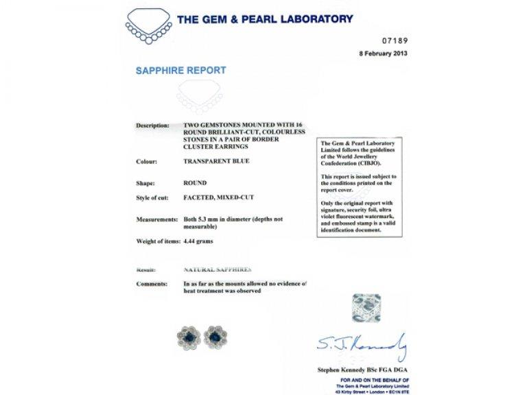 cert view antique diamond sapphire earrings berganza hatton garden
