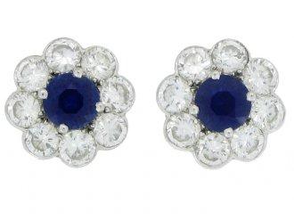 front view antique diamond sapphire earrings berganza hatton garden