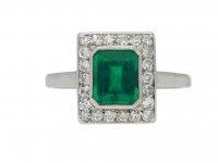 Art Deco Colombian emerald diamond ring berganza hatton garden