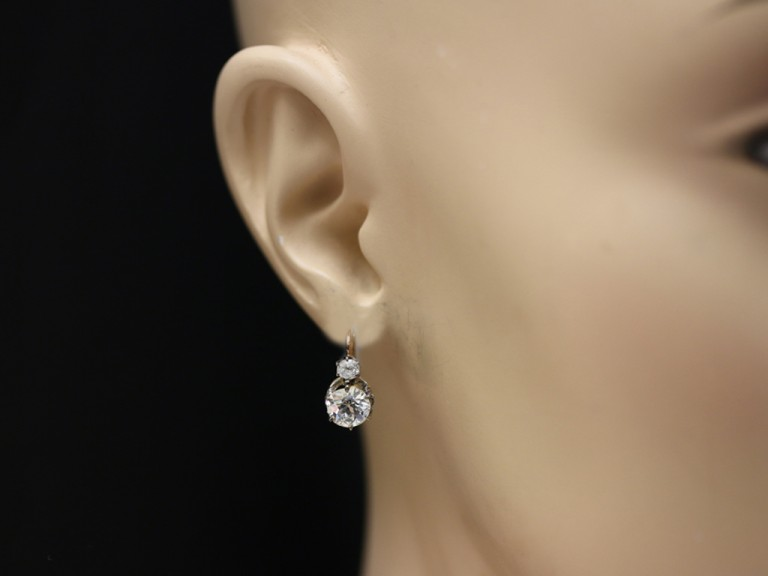 Diamond earrings, French, circa 1915.