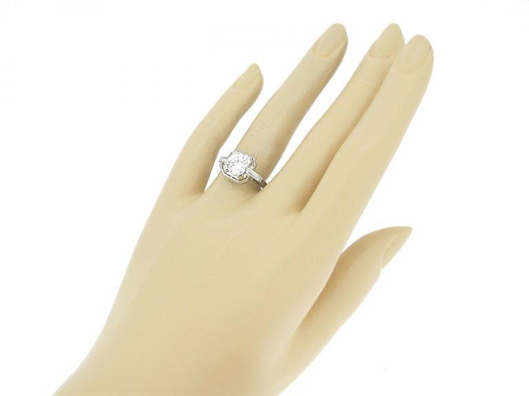 hand view Art Deco diamond ring, circa 1935.