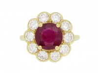 front view Ruby and diamond coronet cluster ring, French, circa 1970.