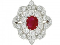 front view Antique Burmese ruby and diamond ring, circa 1900.