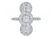 front view Triple cluster diamond ring, circa 1920.