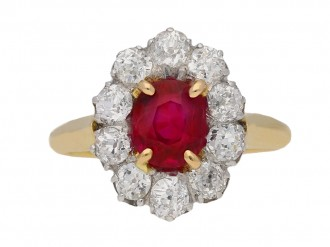 front view  Antique Burmese ruby and diamond coronet cluster ring, circa 1910. berganza hatton garden