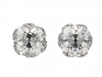 Old mine cushion shape diamond earrings berganza hatton garden