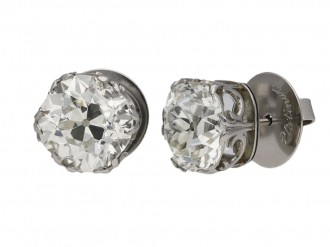 Old mine cushion shape diamond earrings berganza hatton garden