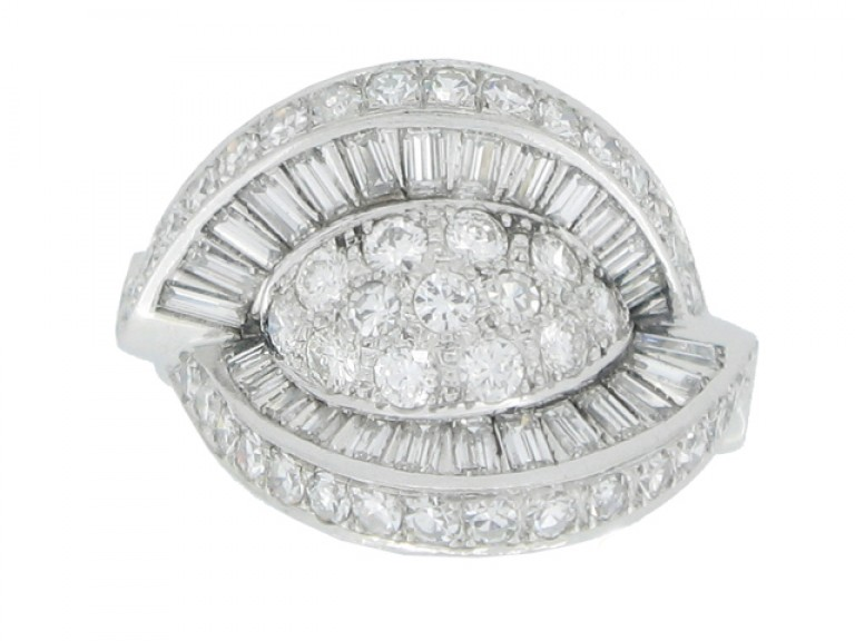 front view Diamond cocktail ring, circa 1950.