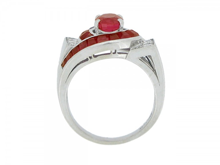 back view Oscar Heyman Brothers ruby and diamond ring, circa 1960.